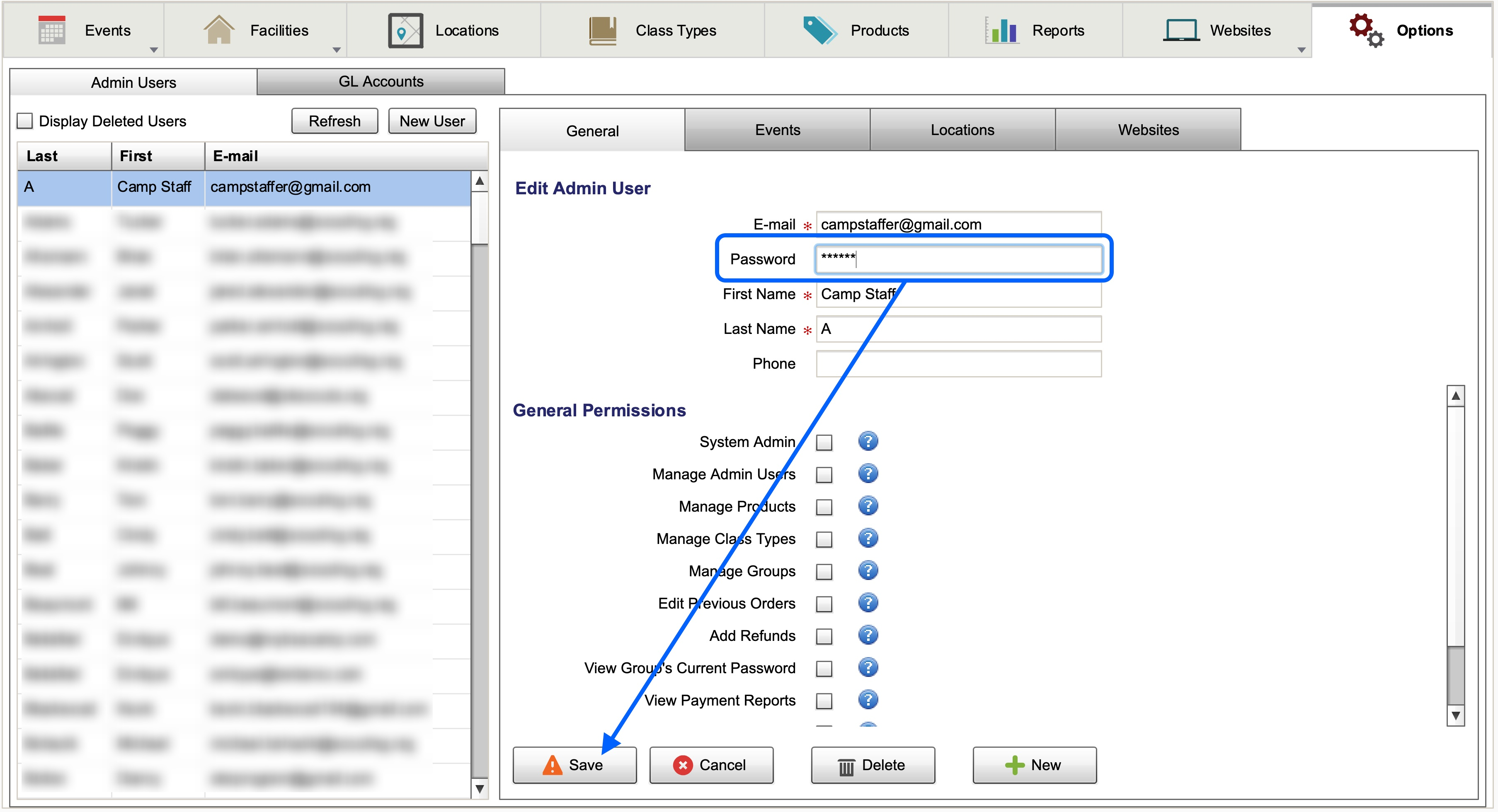 Location of password field under Options >> Admin Users >> General.