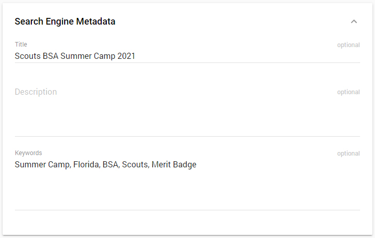 Search Engine Metadata Card