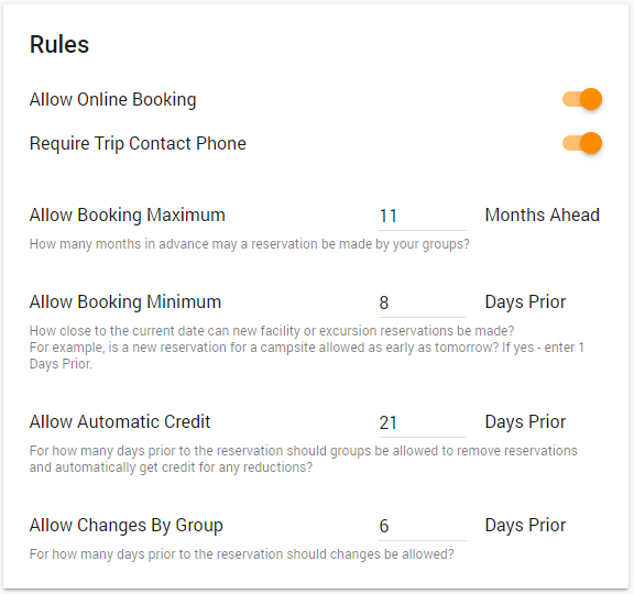 "Rules Card, with a toggle for ""Allow Online Booking"" and &quotRequire Trip Contact Phone,"" and fields to enter booking maximum in months and booking minimum, allow automatic credit, and allow changes by groups in days prior."