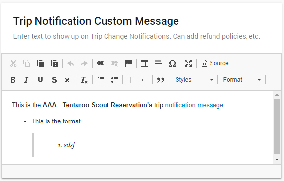 Trip Notification Custom Message card. The composition field includes tools and a source-view toggle