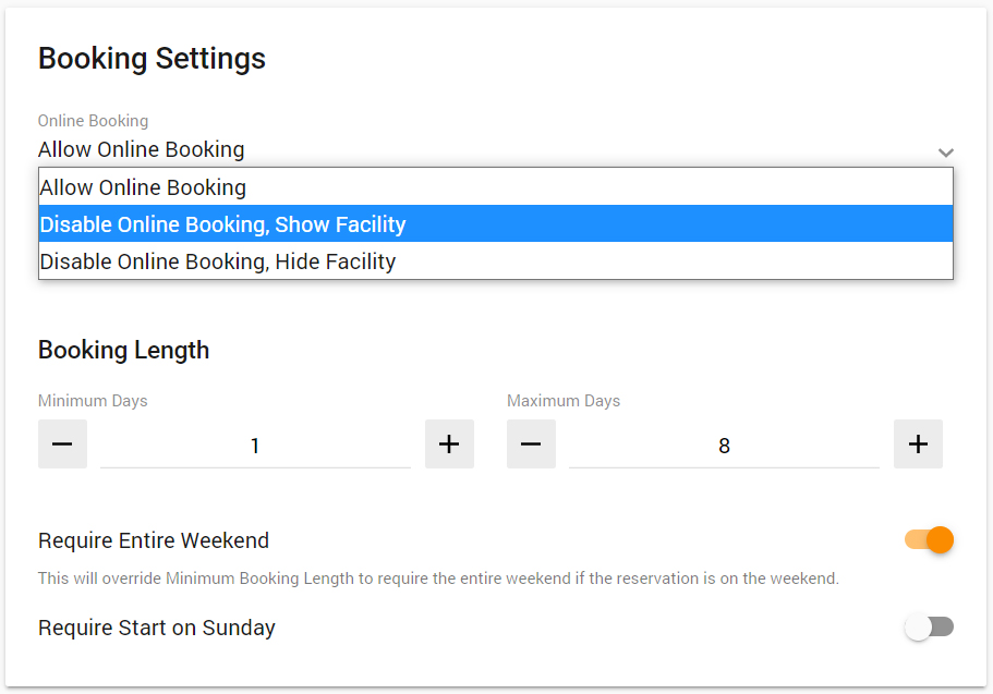 "Booking Settings card of a facility, with an ""Online Booking"" dropdown offering ""Allow Online Booking,"" ""Disable Online Booking, Show Facility,"" and ""Disable Online Booking, Hide Facility"""
