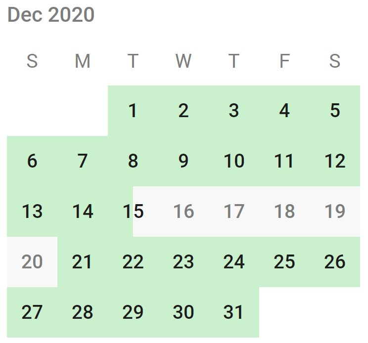Example availabilities: most of the month is green, with a week of grey days starting with a half-grey and half-green day that is still available for overnight bookings for the night before