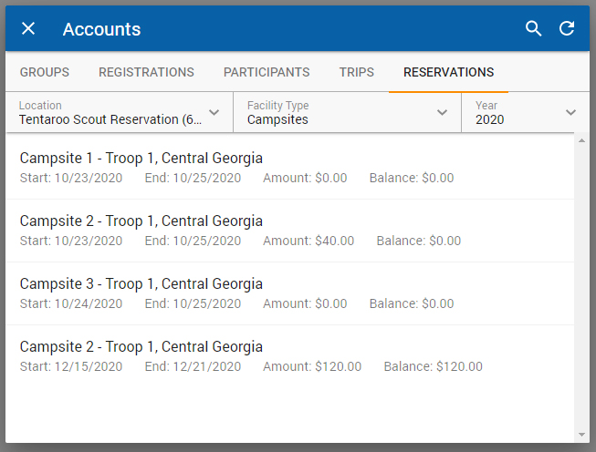 Reservations Tab of the Select Client Tool with drop-downs for location, Facility Type, and year