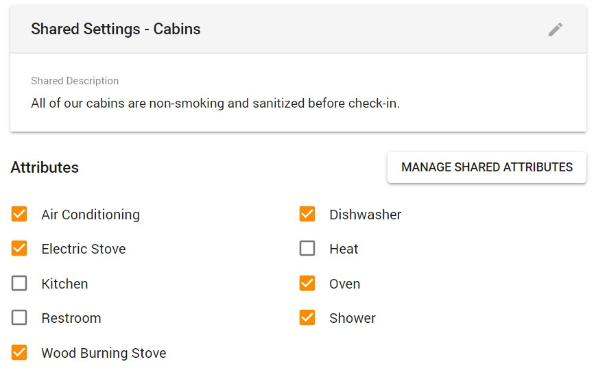 Facility Attributes Example for Cabins, with Air Conditioning, Dishwasher, Electric Stove, Heat, Kitchen, Oven, Restroom, Shower, and Wood Burning Stove as listed options
