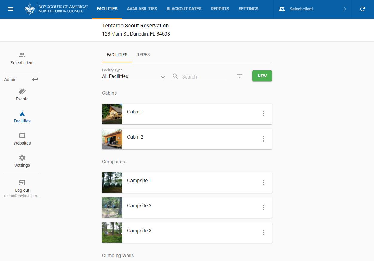 Facilities area of the Tentaroo admin interface
