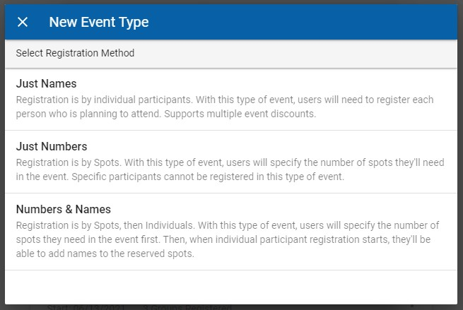 When creating a new Event Type, a pop-up appears asking you to choose Registration Method. The options displayed are Just Names, Just Numbers, and Names and Numbers.