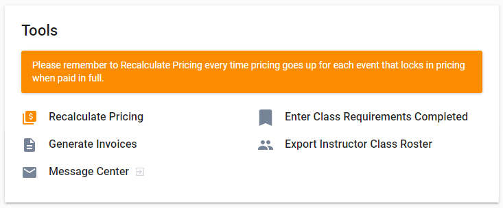 Events Dashboard with Recalculate Pricing