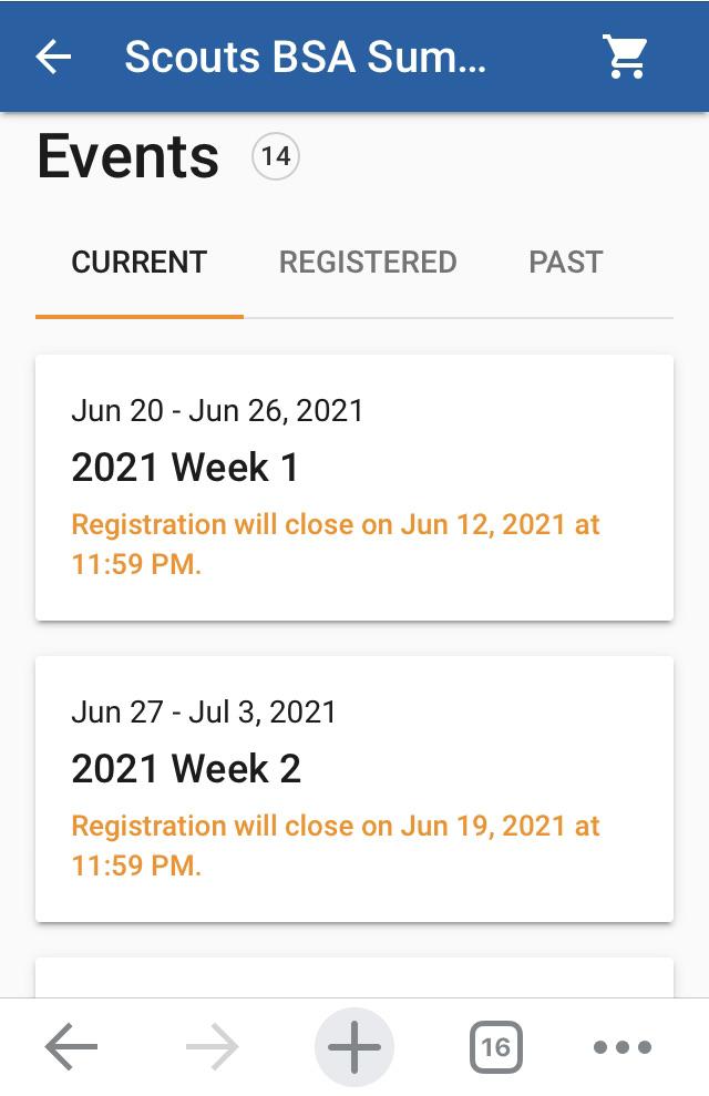 User Interface - Event List